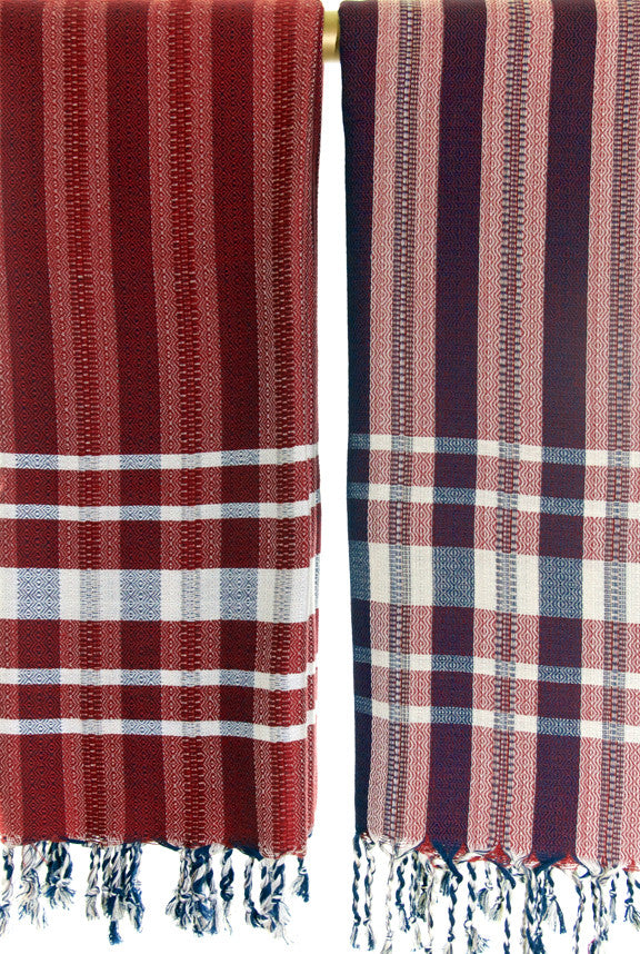 Wevist Diablo Pestemel in Claret.  Handwoven. 100% Organic Cotton