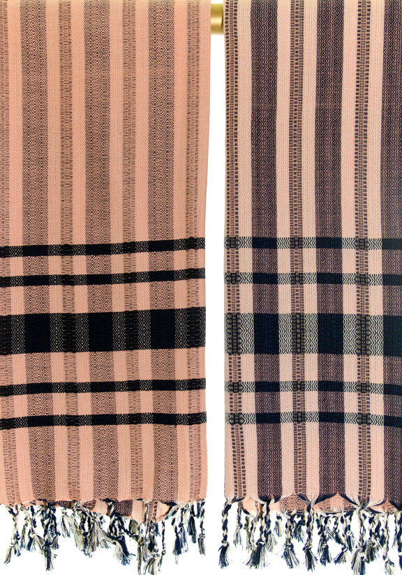 Wevist Diablo Pestemel Peach and Black.  Handwoven. 100% Organic Cotton