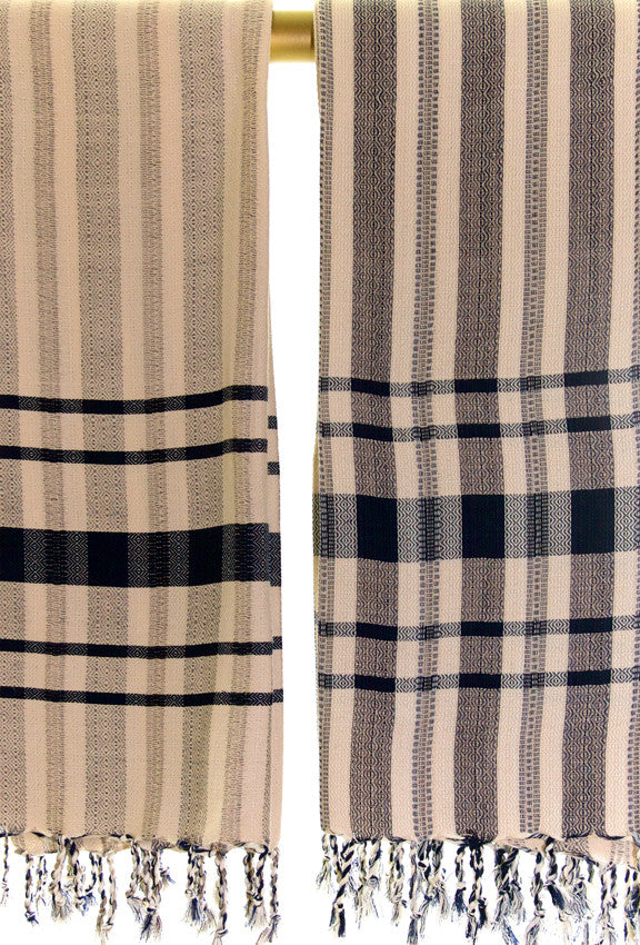 Wevist Diablo Pestemel. Tan and Navy  Handwoven. 100% Organic Cotton