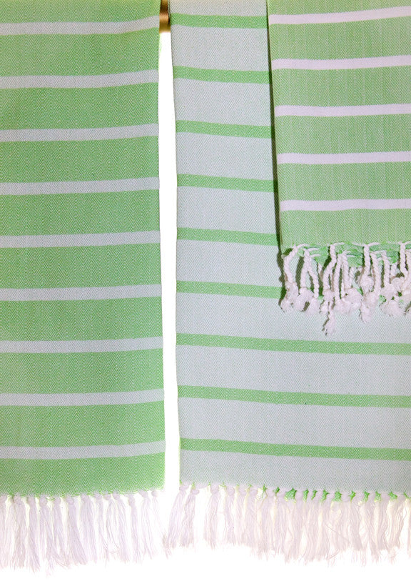 Wevist Sirocco Pestemel in Key Lime.  Handwoven.  100% Organic Cotton