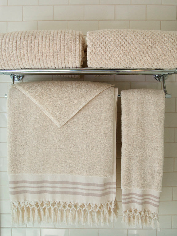 Wevist Luxe Plush Towel.  Ecru Collection.  Handwoven.  100% Organic Cotton