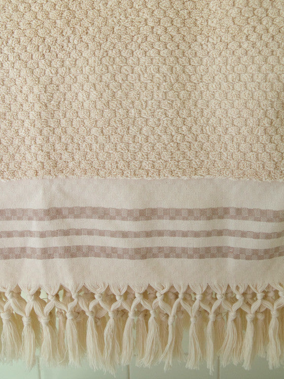 Wevist Luxe Plush Towel.  Ecru Small Square.  Handwoven.  100% Organic Cotton