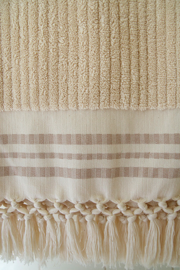 Wevist Luxe Plush Towel.  Ecru Stripe.  Handwoven.  100% Organic Cotton