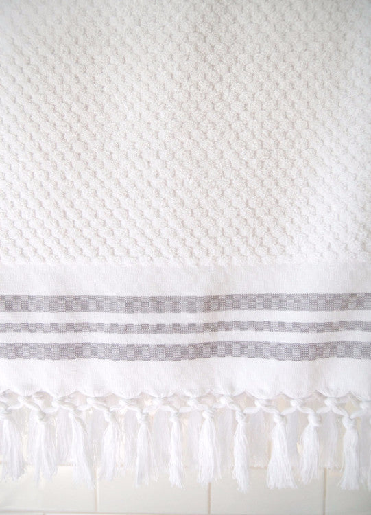 Wevist Luxe Plush Towel.  White Small Square.  Handwoven.  100% Organic Cotton
