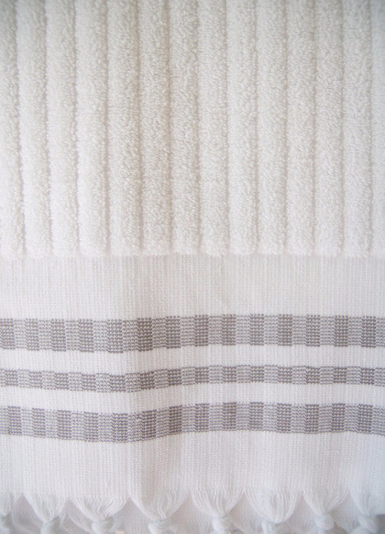 Wevist Luxe Plush Towel. White Stripe.  Handwoven.  100% Organic Cotton