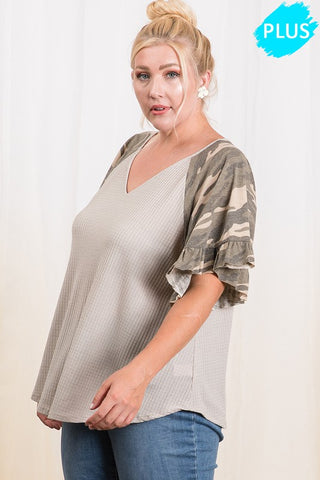 Camo Ruffled Sleeve V neck Top