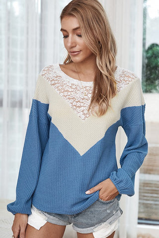 Blue Crochet Long Sleeve Top