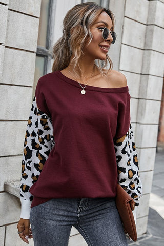 Leopard Printing Sleeves Splicing Sweater