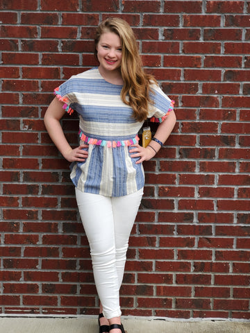 Babydoll Top with multi stripe pattern and multi color tassel