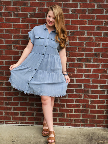 Light Denim Dress with Frayed Hem