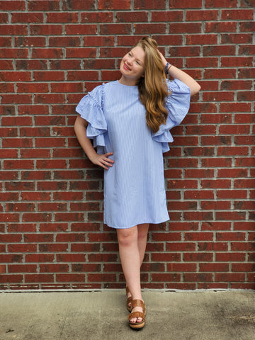 Ruffle Sleeve Dress in Blue Stripe