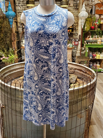 Light Blue Paisley Sleeveless Dress