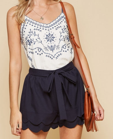 Navy Tiered Shorts