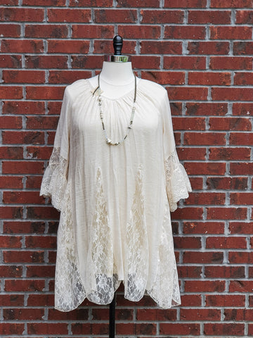 Beige Plus Lace Mix Ruffle Tunic/Dress