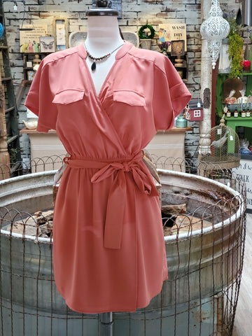 Burnt Orange V Neckline Dress