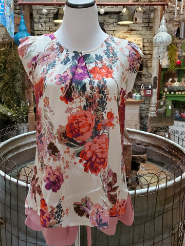 Floral Round Top w/ Flutter Sleeve