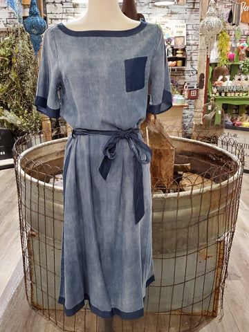 Denim Two Tone Lightweight Dress w/ Pocket