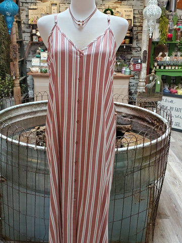 Button-Down Maxi Dress in Rust Stripe