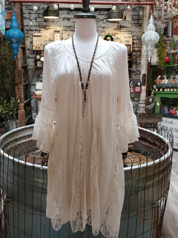 Beige Lace Mix Ruffle Tunic/Dress