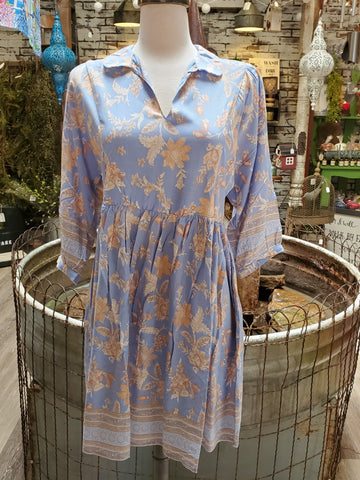 Botanical Garden Dress- Blue