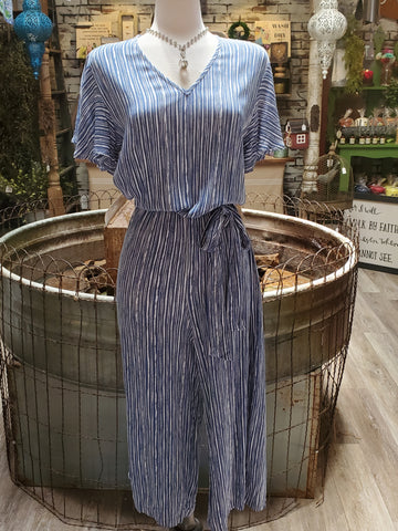 Cropped Jumpsuit in Blue Stripe
