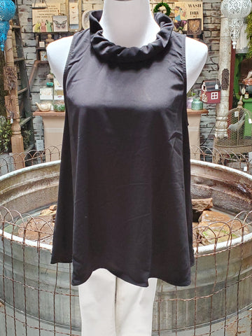 Black Sleeveless Ruffle Neck Top