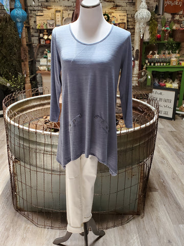 Button Pocket Top- Denim