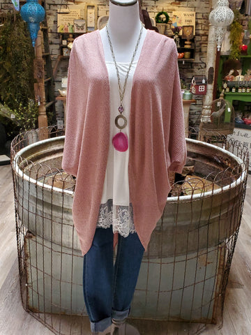 Brushed Hacci Cardigan- Mauve