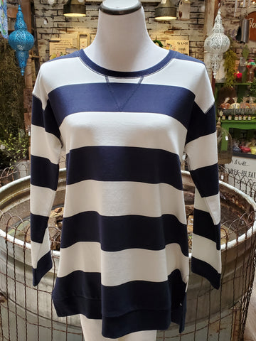 Nautical Wide Striped Pullover - Navy