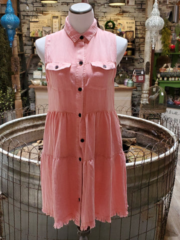 Pink Sleeveless Washed Button Dress