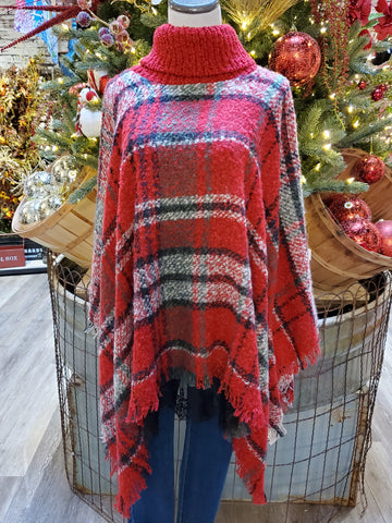 Holiday Plaid Cowl Neck Poncho (Red)