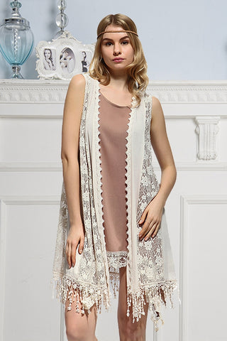 Peach Lace Vest with Trim Details