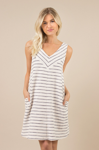 Terry Striped Dress-(Navy or Rose)