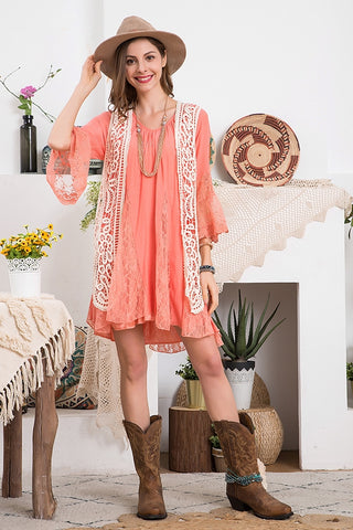 Peach Lace Ruffle Tunic Dress