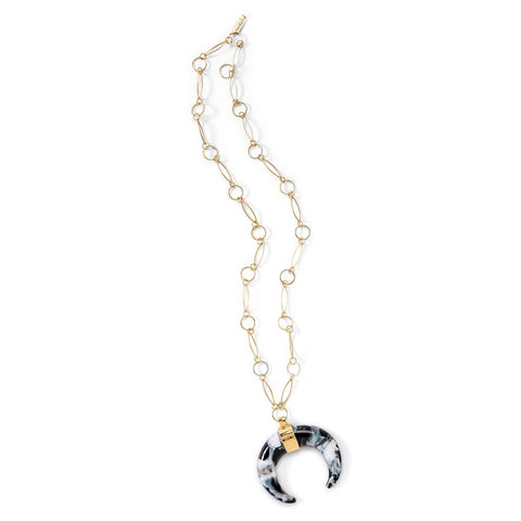 Resin Crescent Horn Link Necklace in Black
