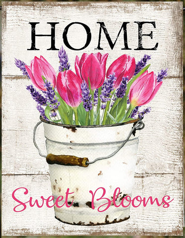 Home Sweet Blooms Tulips in Bucket House Flag