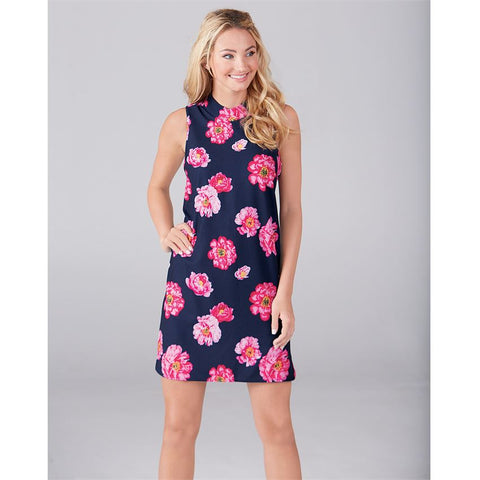 Shift Dress in Navy Floral Print