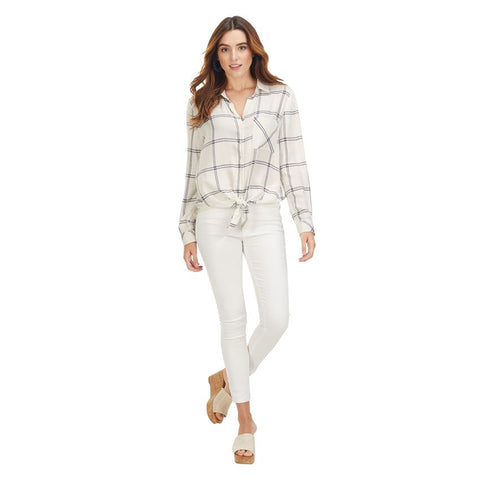 Button-Down Tie Top in White Plaid