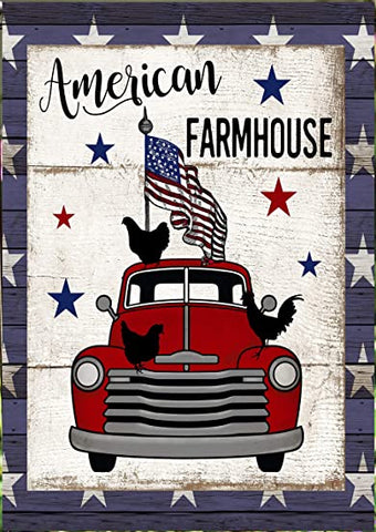 American Farmhouse Truck House Flag