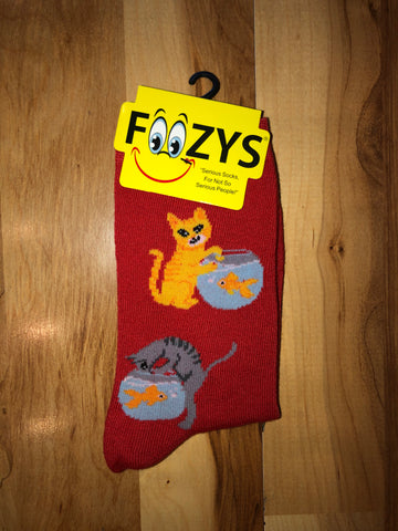 Cat and Fish Bowl Socks