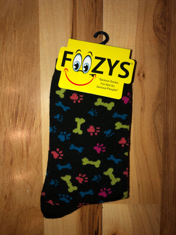 Bone and Paw Print Socks (Black)