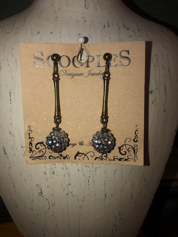 Bar Drop Earring With Diamond Cluster