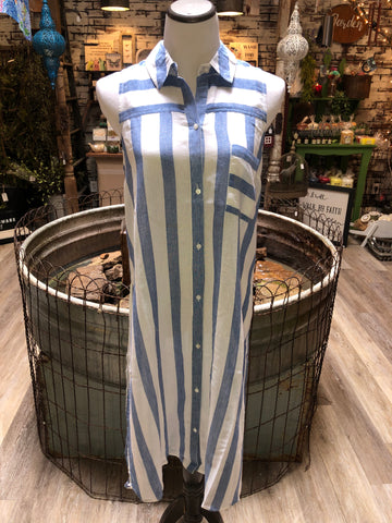 Button Down Duster in Blue and White Stripe