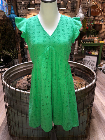 Green Eyelet Babydoll Dress