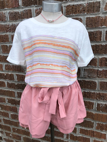 Multi Color Stripe Tie Side Waist Top