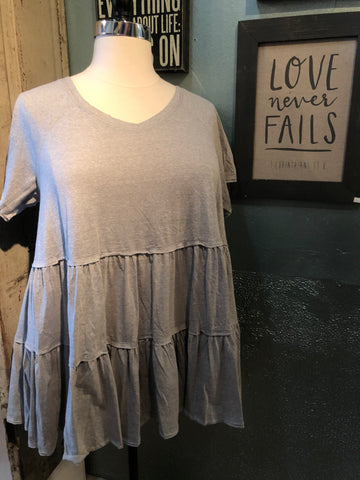 Solid Washed Babydoll Knit Top