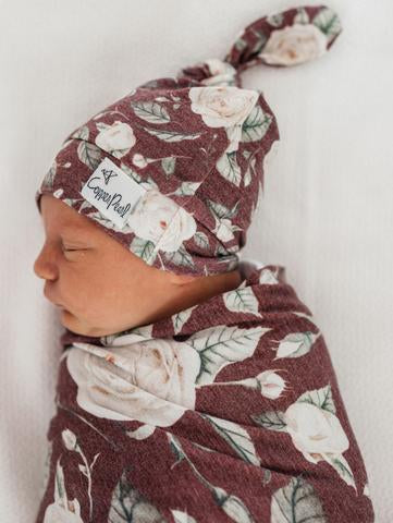 Scarlet- Copper Pearl Top Knot Baby Hat