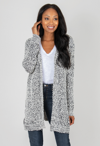 Hooded Sweater Cardigan ( Black or Java)