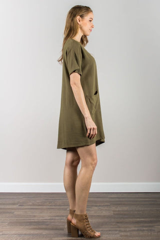 Linen Short Sleeve Dress With Front Pockets