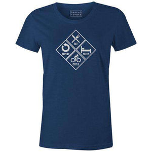 Eat, Sleep, Cycle, Repeat Women'sThread+Spoke - THREAD+SPOKE | MTB APPAREL | ROAD BIKING T-SHIRTS | BICYCLE T SHIRTS |